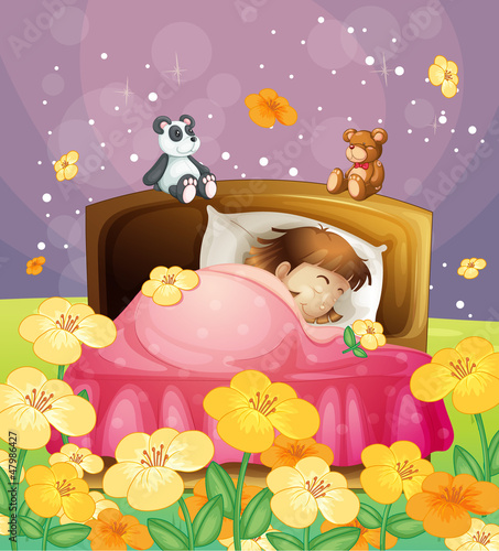 Wall Murals Bears A girl sleeping in her bed