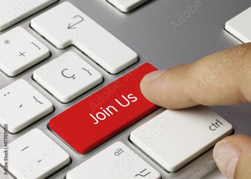 Fotografía  Join Us keyboard key. Finger