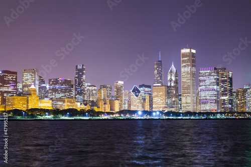 Aluminium Prints City building Chicago Downtown Skyline at Night