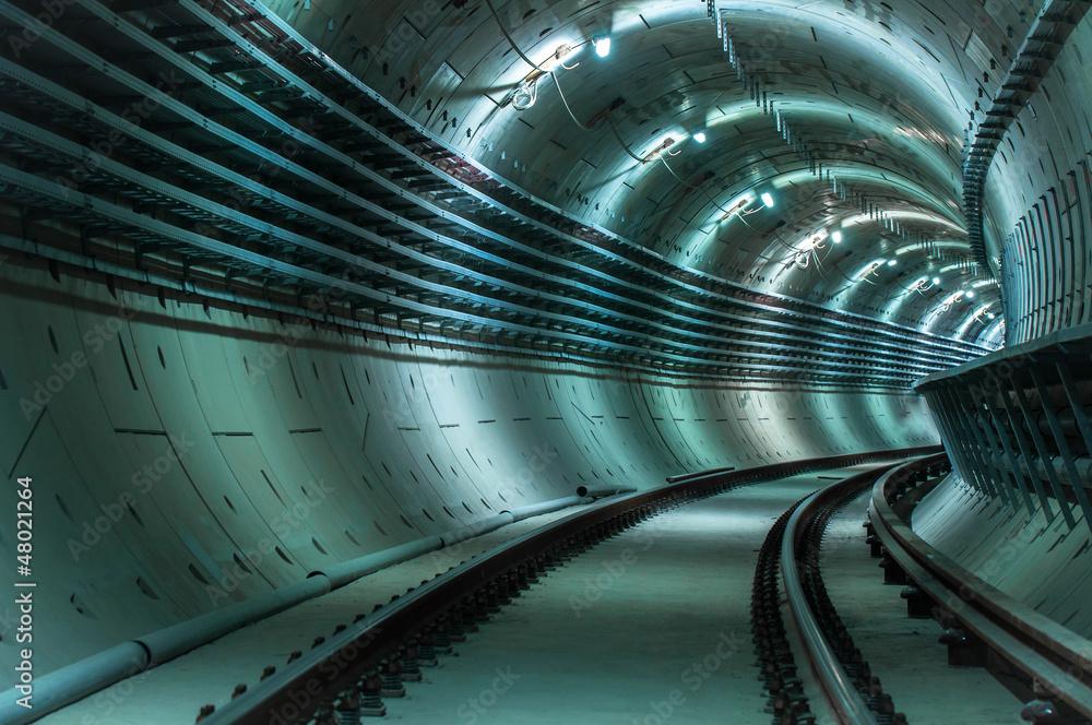 Fototapeta Underground tunnel with blue lights