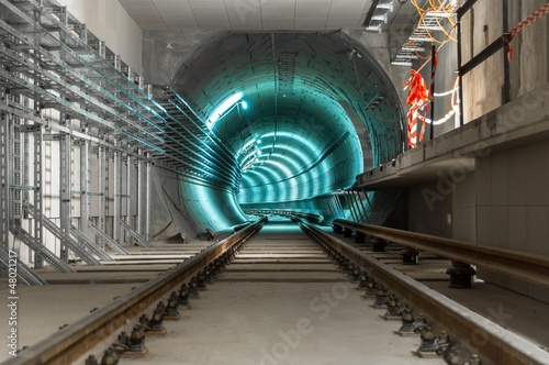 Photo Stands Tunnel Underground tunnel with blue lights