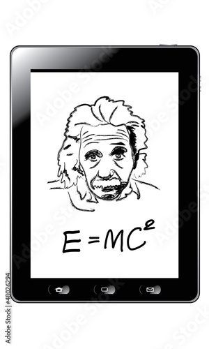 Photo  Hand drawing albert einstein on tablet vector