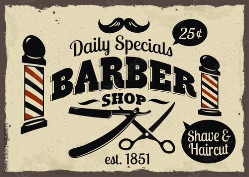 Naklejka premium Barber Shop w stylu vintage