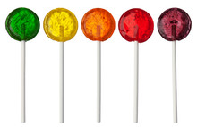 Assorted Colors Lollipops Isolated On White Background, Close-up