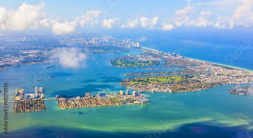 aerial of coastline Miami