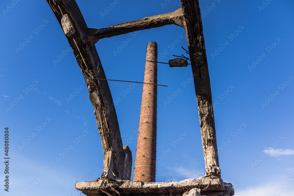 Factory chimney in the area of the ruined ironworks in Katowice