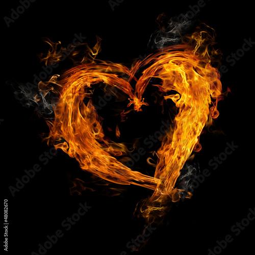 Fotografie, Obraz  Heart made of fire