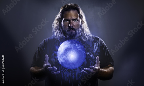 Man with hovering glowing orb Canvas-taulu