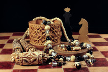 Chess, Box From Birch Bark And...
