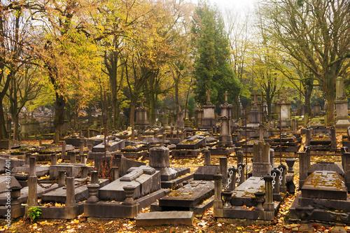 Photo sur Toile Cimetiere Cemetery in Autumn