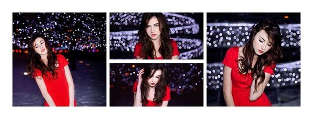 modelka zima czerwona sukienka nowy rok moda usta noc bokeh