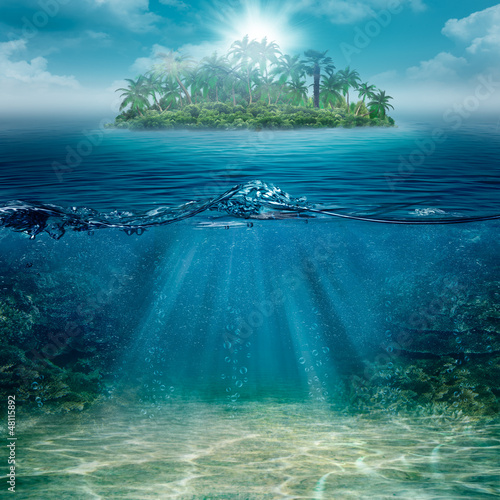 Fotobehang Eiland Alone island in the ocean, abstract natural backgrounds