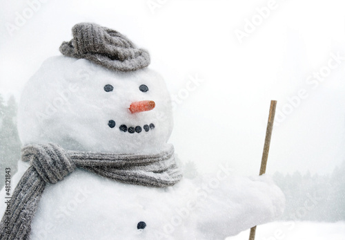 Smiling snowman outdoors in snowfall Poster