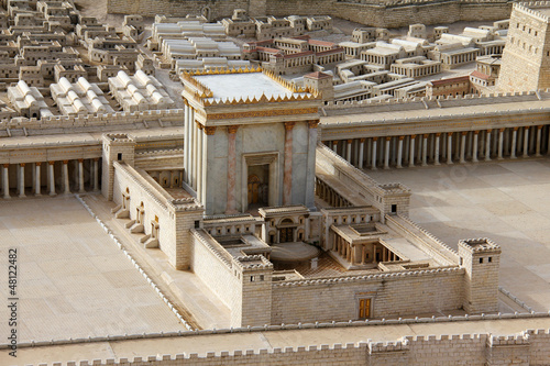 Poster Bedehuis Second Temple. Model of the ancient Jerusalem.