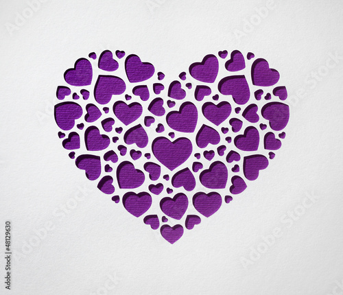 Valentine day heart made of small hearts on paper card - 48129630