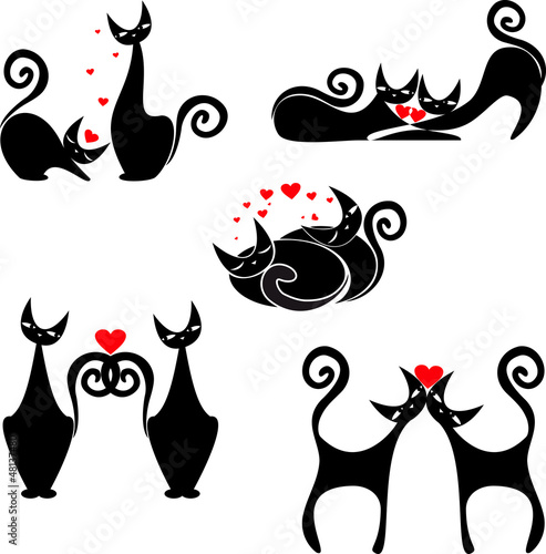 Acrylic Prints Red, black, white set of stylized figures of cats
