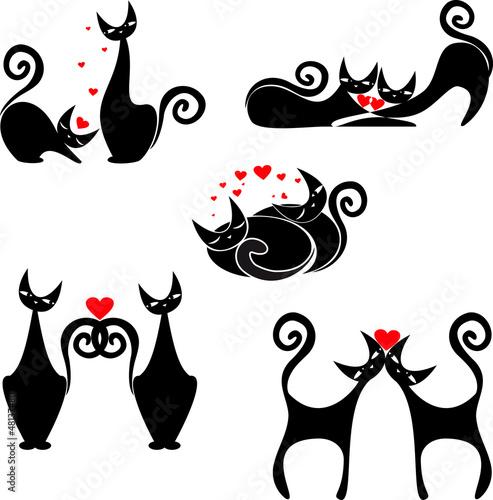 Keuken foto achterwand Rood, zwart, wit set of stylized figures of cats
