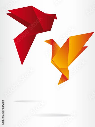 Poster Geometric animals Origami japan paper flying bird
