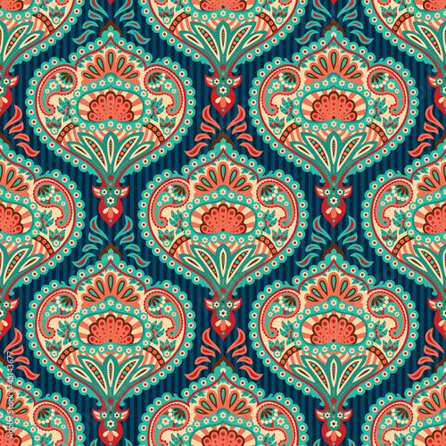 Fotografie, Obraz Oriental seamless paisley wallpaper pattern
