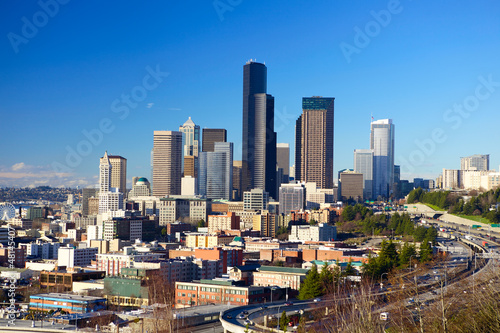 In de dag Los Angeles Seattle skyline with urban skyscrapers and blue sky, WA, USA