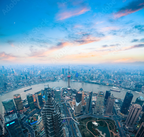 Photo  bird's eye view of shanghai panorama