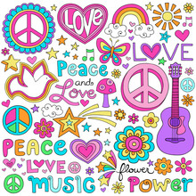 Peace Love Music Groovy Notebo...