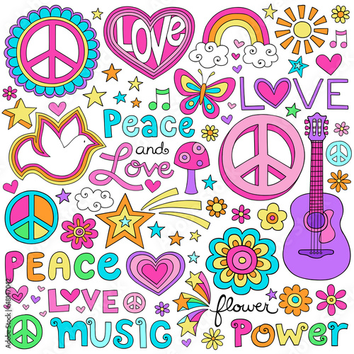 Foto  Peace Love Music Groovy Notebook Doodles Vector Set