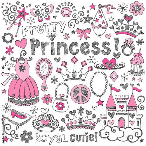 Fotografie, Obraz  Princess Tiara Sketchy Notebook Doodle Set