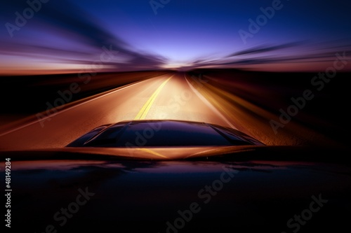 Poster Autoroute nuit Night Ride