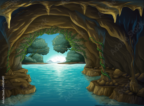 A cave and a water Poster