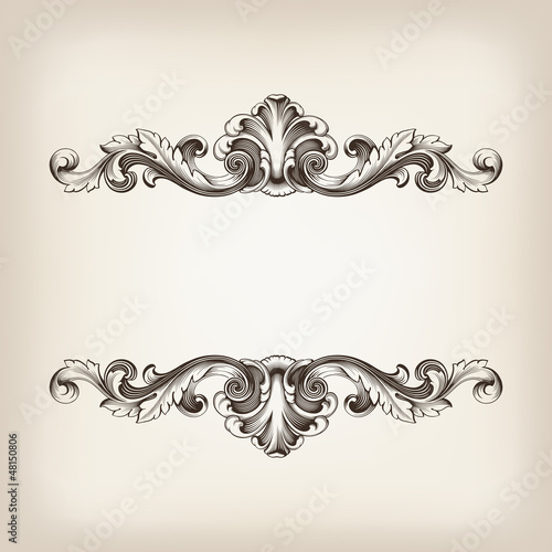 vintage border frame calligraphy engraving baroque vector