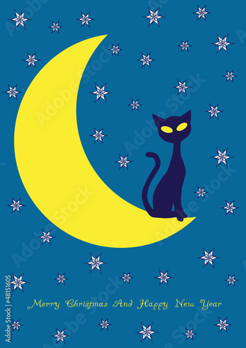 Poster de jardin Ciel vector background with cat on the moon