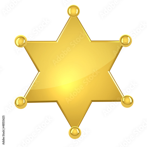 Blank golden sheriff star isolated on white Canvas-taulu