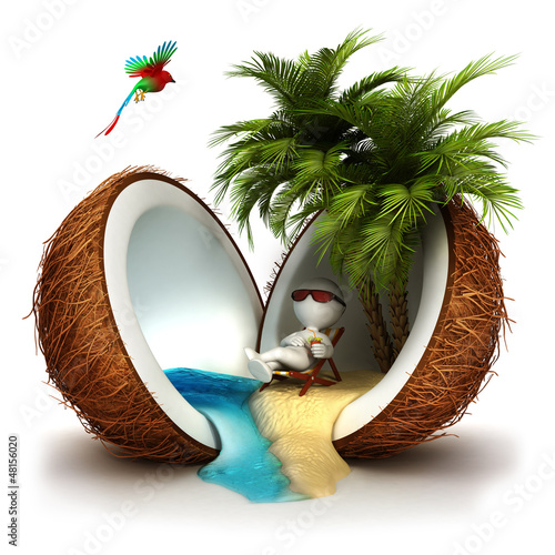 Fotografia  3d white people in a coconut paradise
