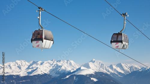 Photo  Ski Lift Above the Mountain Peaks