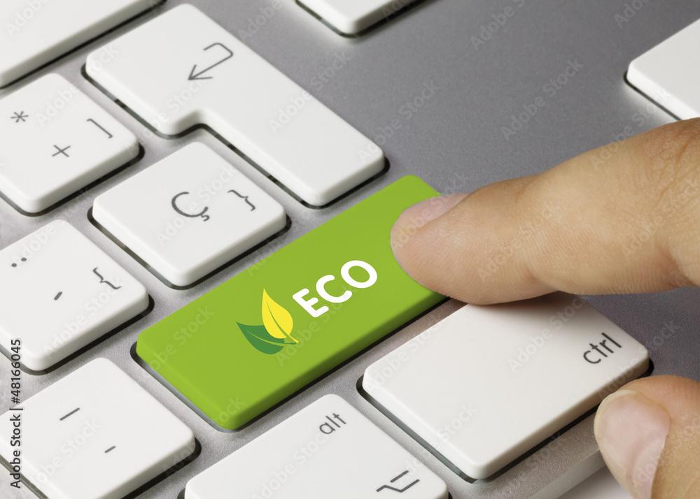 Fototapeta Eco keyboard key. Finger