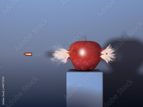 Manzana siendo atravesada por una bala Fototapete