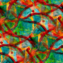 Green Red Seamless Cubism Abstract Art Picasso Texture Watercolo