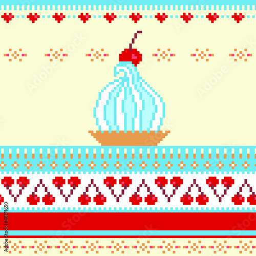 Photo sur Toile Pixel Seamless border illustration with cake and cherries