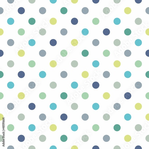 Colorful polka dots vector white seamless background pattern