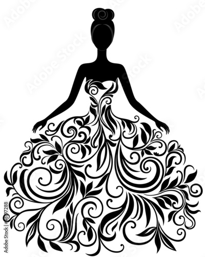 Fotografía  Vector silhouette of young woman in dress