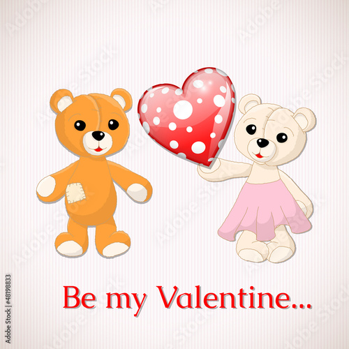 Fotobehang Beren Valentine greeting card with two teddy bears and red dotted hear