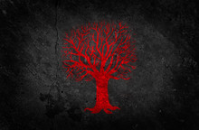 Red Tree On Black Concrete Wall