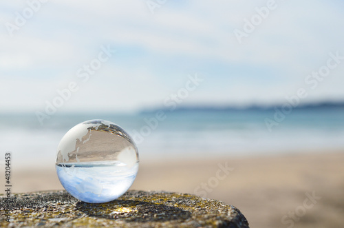 Plissee mit Motiv - 地球 砂浜
