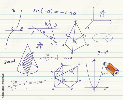 Mathematics sketches on school board Canvas Print