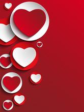 Valentine Day Heart On White Button
