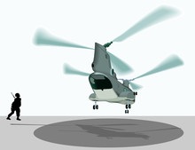 Double Rotor Military Helicopter