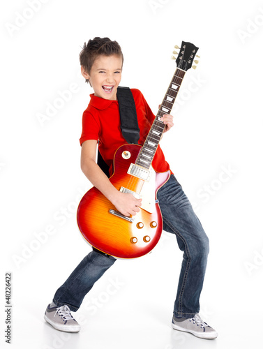 white boy sings and plays on the electric guitar Poster