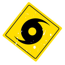 Hurricane Warning Sign On Web Button