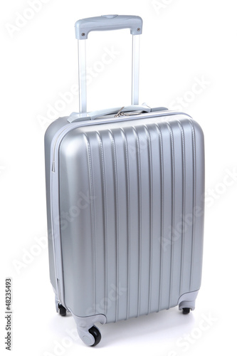 Canvas Print Silver suitcase isolated on white